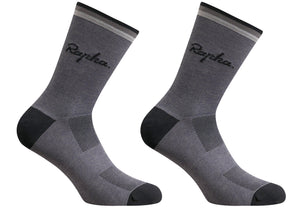 Rapha Mens Logo Socks, Carbon Grey, Woolys Wheels Sydney