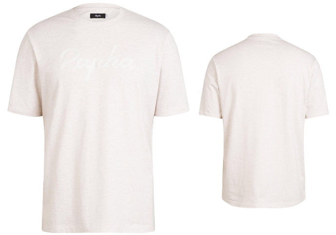Rapha Mens Logo T-Shirt, Cream/White, Woolys Wheels Sydney