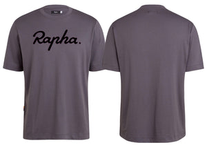 Rapha Mens Logo T-Shirt, Grey/Black Woolys Wheels