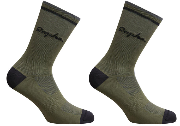 Rapha Mens Logo Socks, Dark Olive, Woolys Wheels Sydney