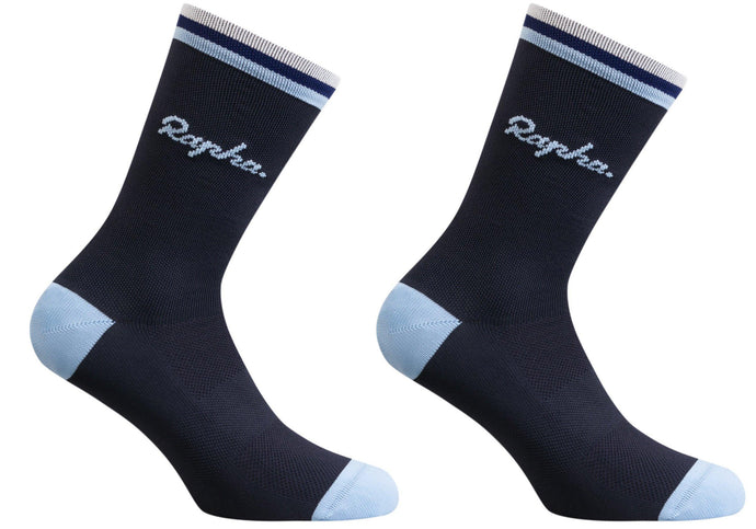 Rapha Mens Logo Socks, Dark Navy, Woolys Wheels Sydney