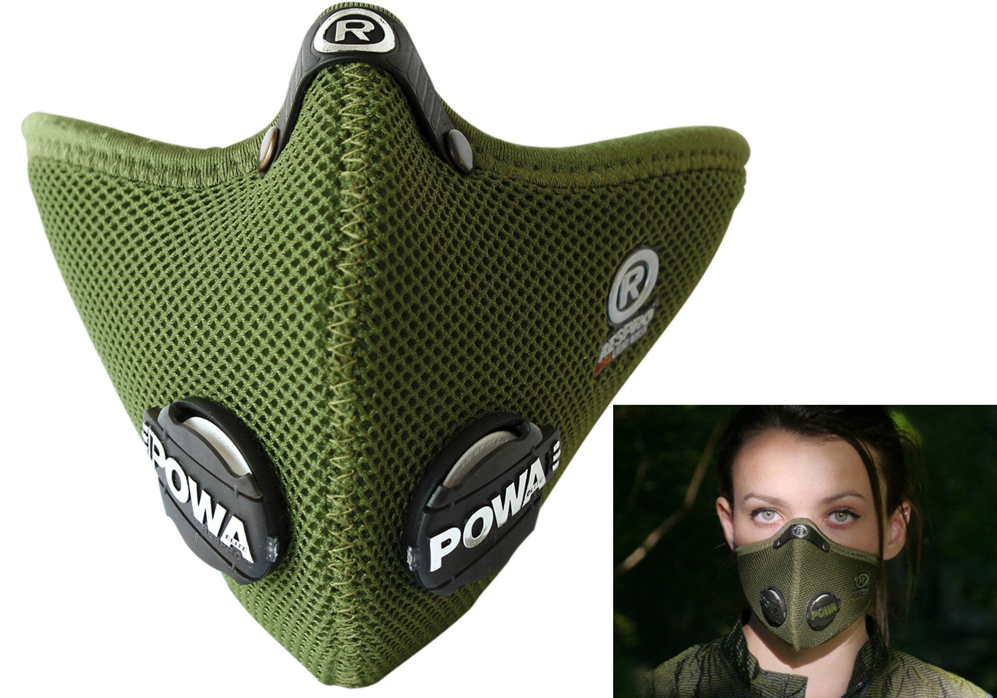 Respro Ultralight Mask With Hepa Filter, Olive Green/Medium Woolys Wheels Sydney