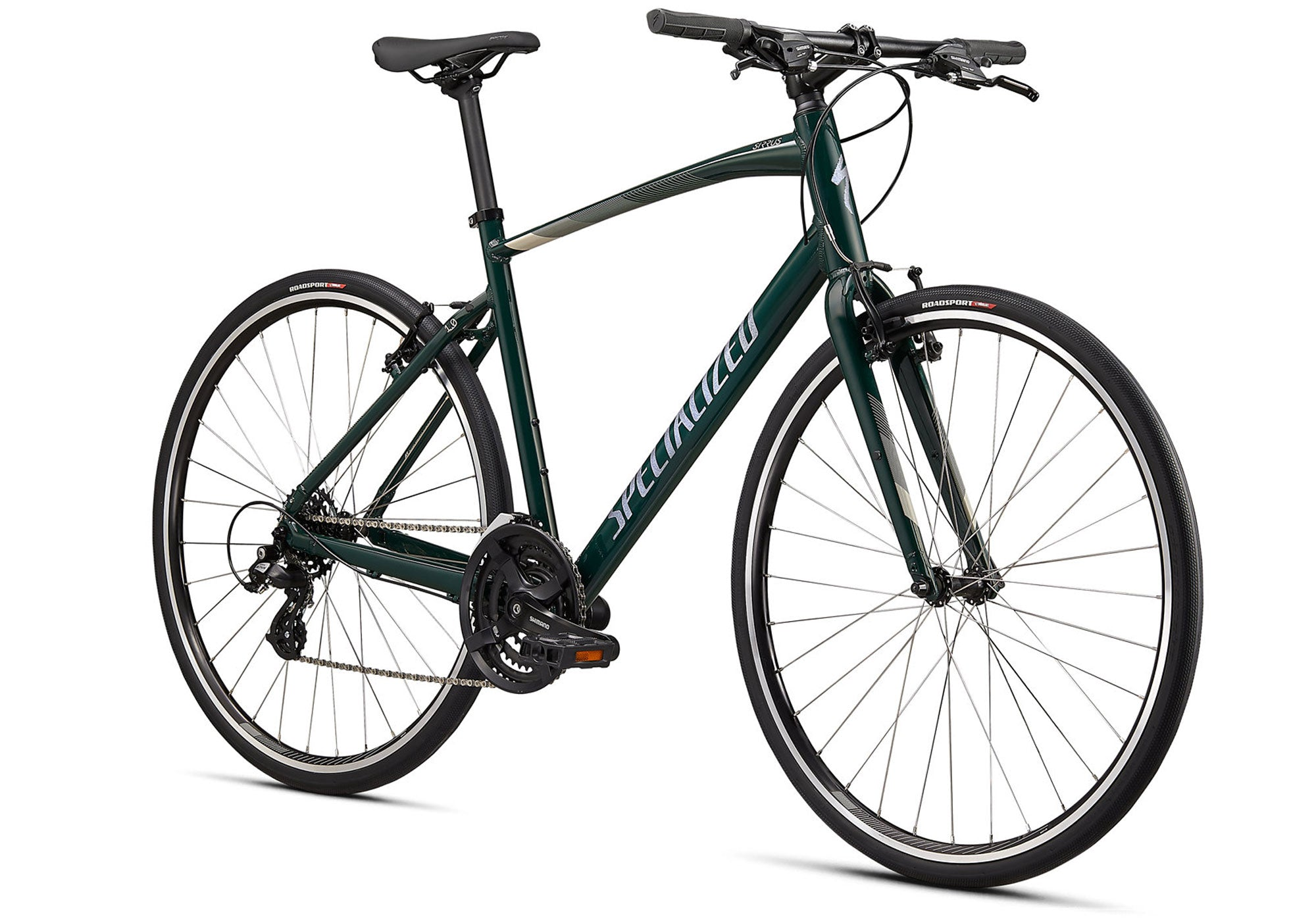 2021 Specialized Sirrus 1.0, Gloss Forest Green, Unisex Fitness Bike, Woolys Wheels Sydney Australia
