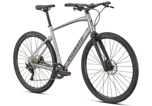 2021 Specialized Sirrus X 3.0, Gloss Flake Silver, Unisex Fitness Bike, Woolys Wheels Sydney