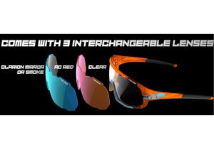 Tifosi Sledge Matte White Sunglasses With 3 Interchangeable Lenses