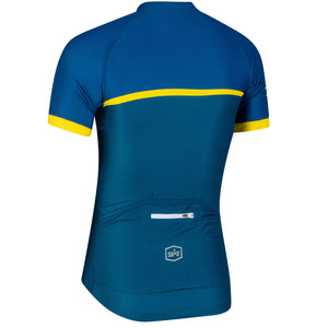 Solo Mens Cadence Jersey, Blue/Fluro Yellow, buy online at Woolys Wheels with free delivery