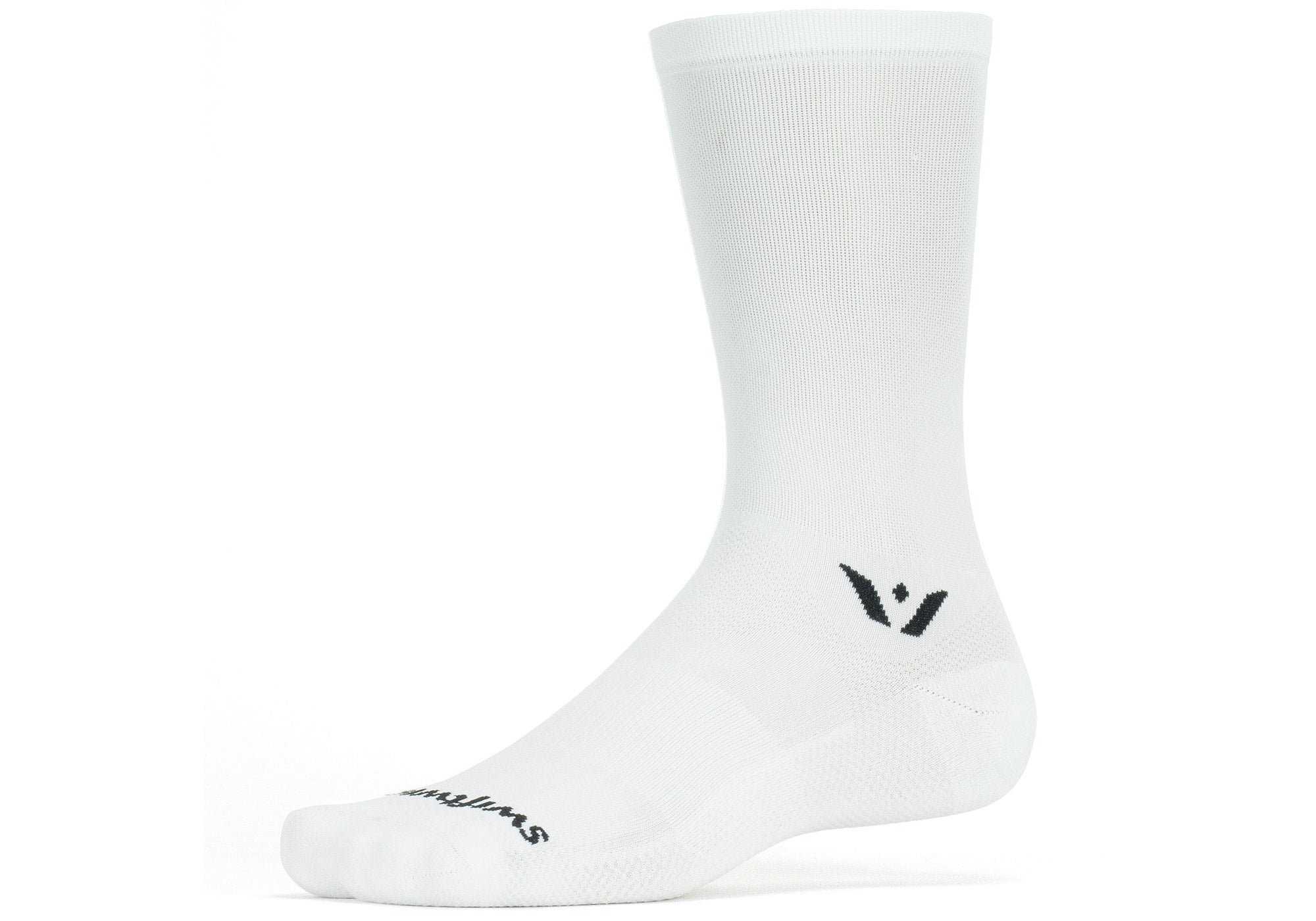 "Swiftwick Aspire Cycling Socks 7"" Cuff, White"