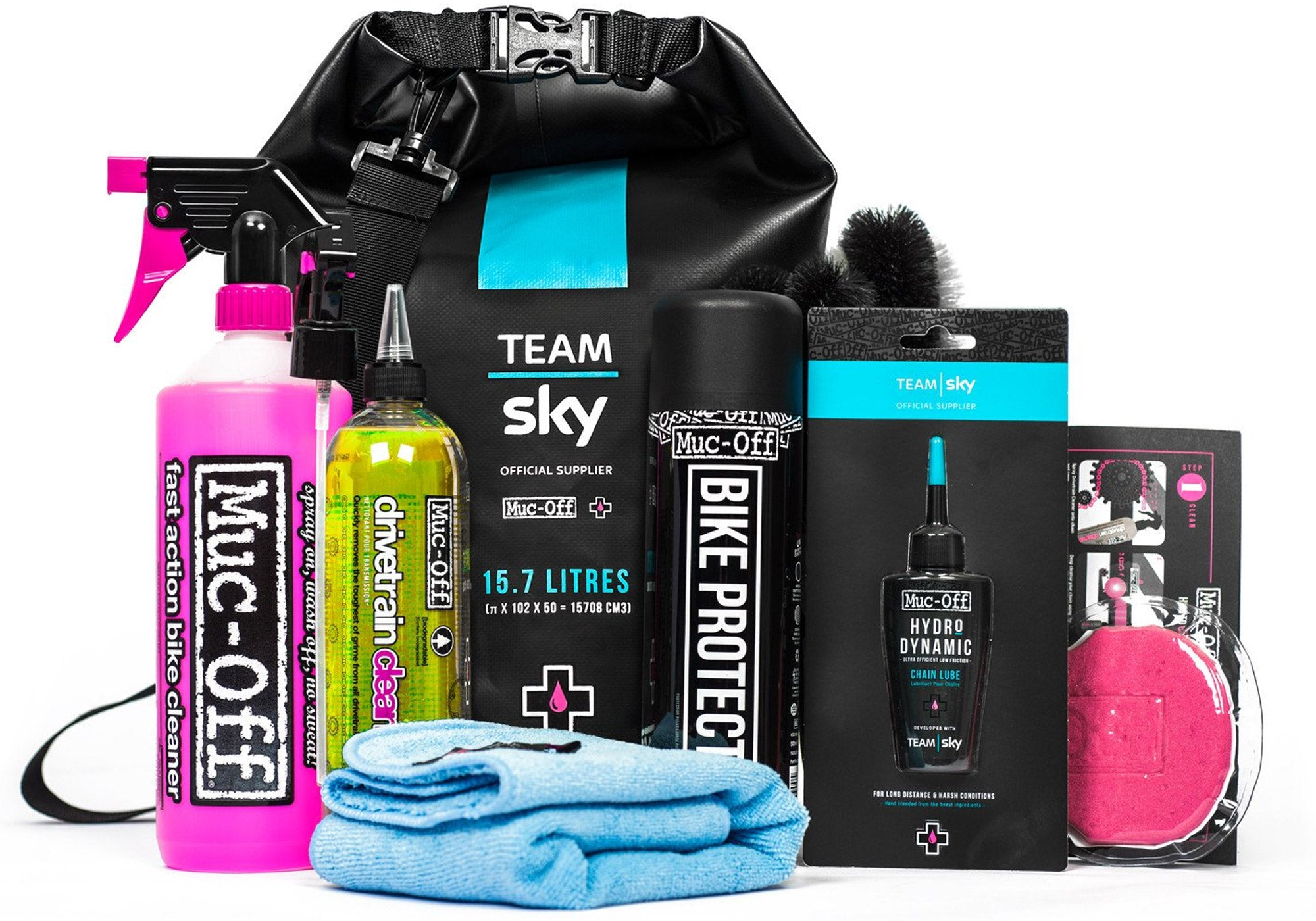 Muc-Off Team Sky Clean & Lube Dry Bag Kit Woolys Wheels Sydney Paddington