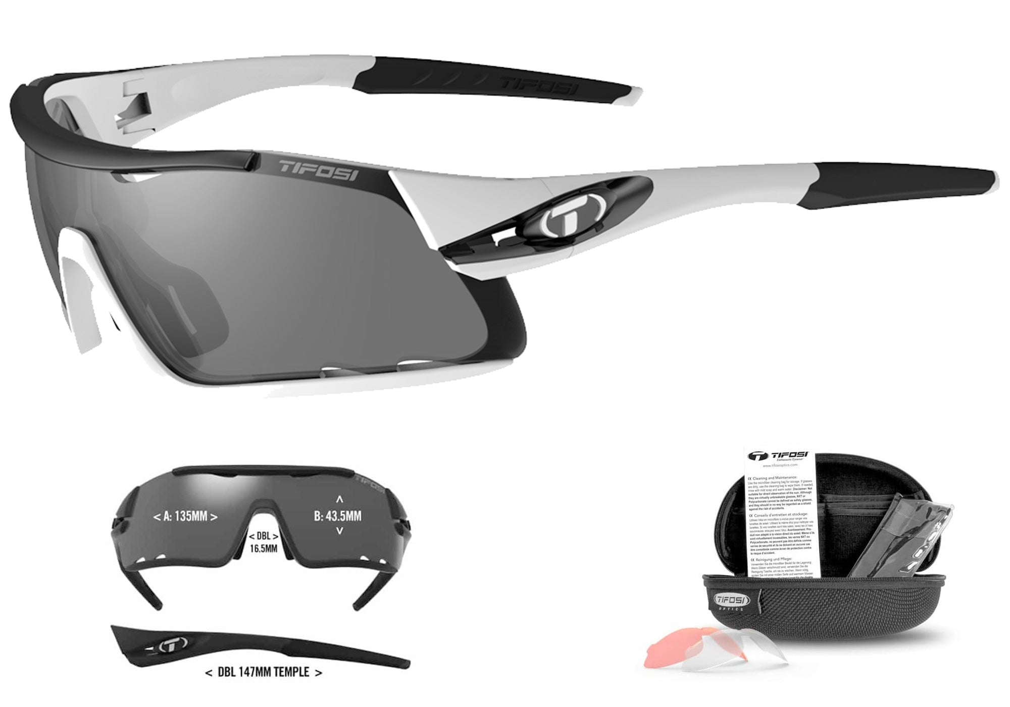 Tifosi Davos Sunglasses, White/Black with 3 lenses Woolys Wheels Sydney