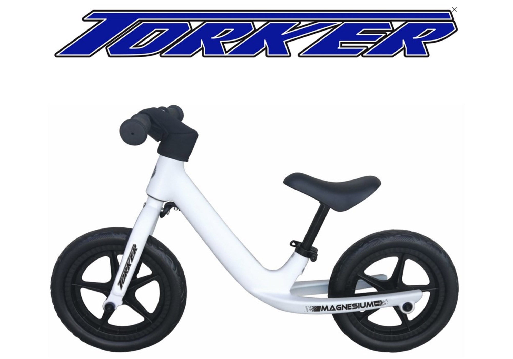 Torker Magnesium Balance Bike, White With Customisable Name Graphic, Woolys Wheels Sydney