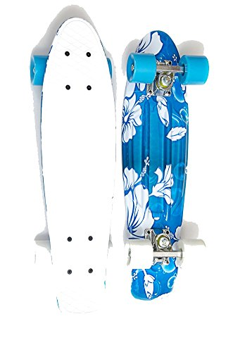 MoBoard Graphic Complete Skateboard (Flowers - Lt Blue/White)