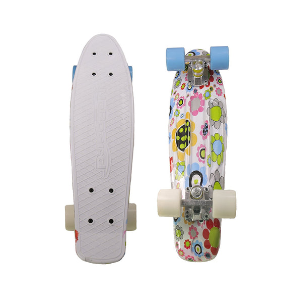 MoBoard Graphic Complete Skateboard (White Top/Graphic - Blue / White)