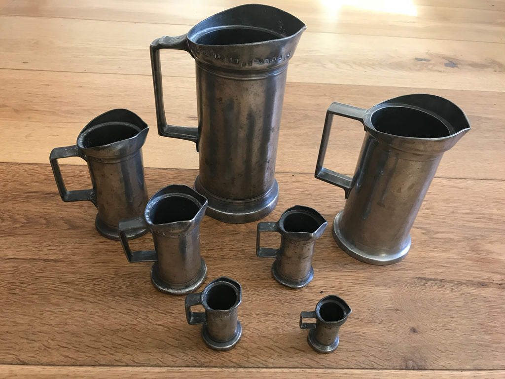 Antique French Pewter Measuring Jugs