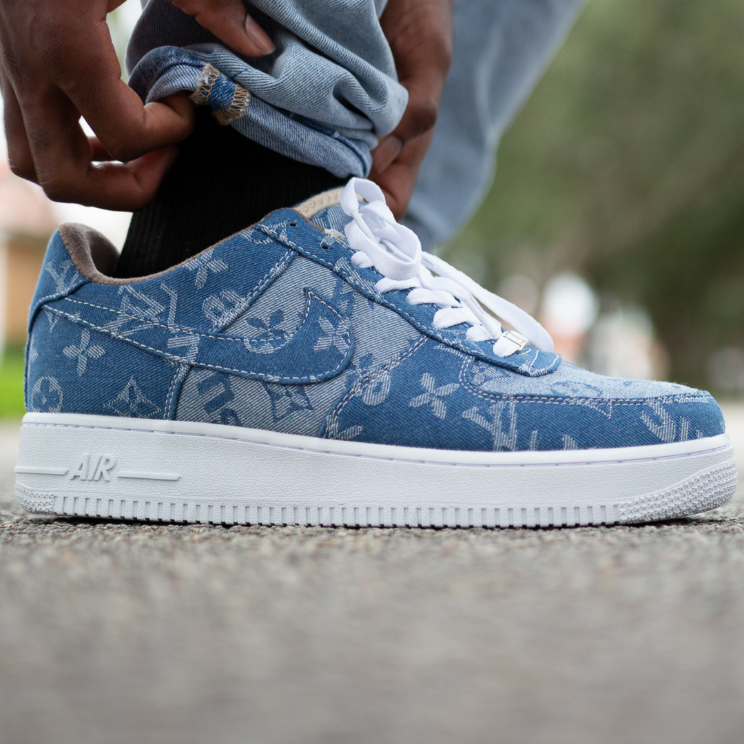 Air Force 1s Blue Louis Vuitton Denim Print Confederated Tribes Of The Umatilla Indian Reservation