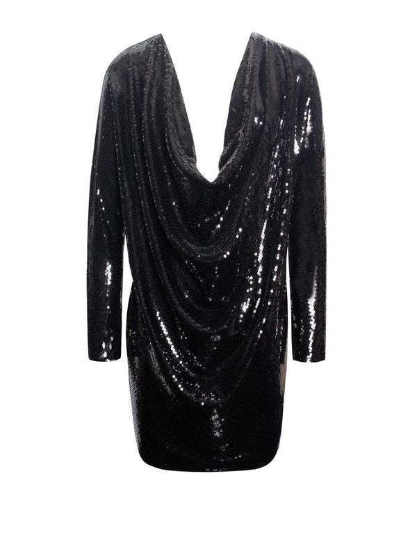 Sequin Drape Dress