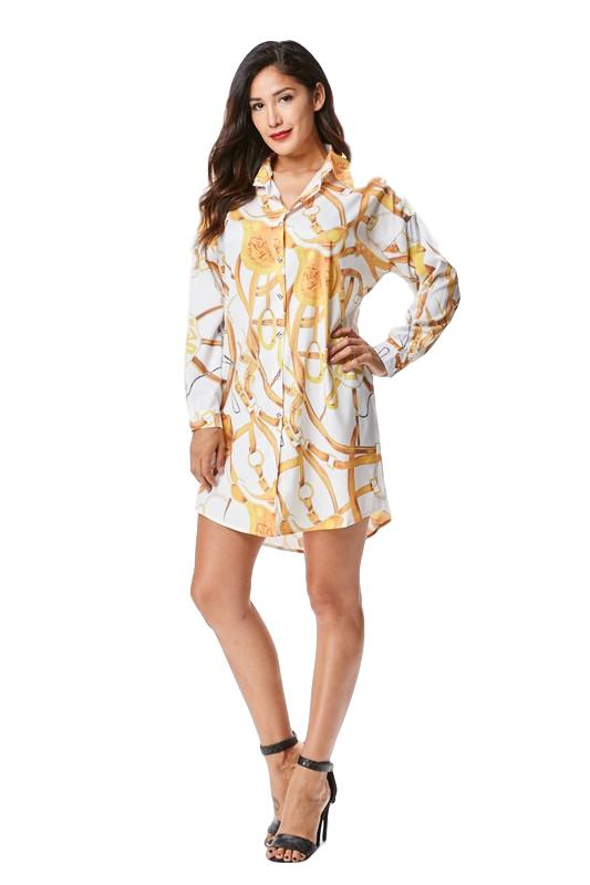Gold Chain Shirt Dress