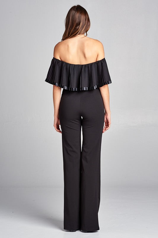 Off Shoulder Pleated Jumpsuit