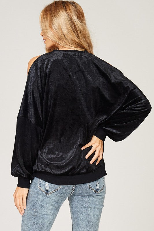 Velvet Cold Shoulder Sweatshirt