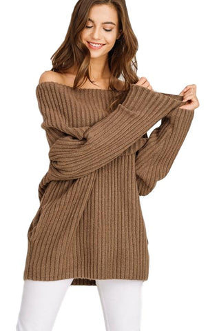 Chunky Ribbed Off Shoulder Sweater