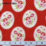 B535 - RAMBLING ROSE by FreeSpirit Fabrics #PWTW135.Red- Patchwork Fabric by the 1/2 metre