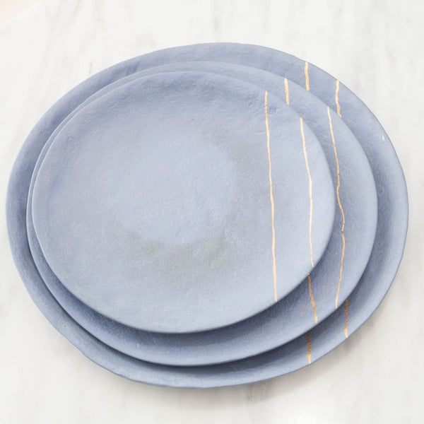 Artisan Blue Stoneware Plate with Golden Line Set