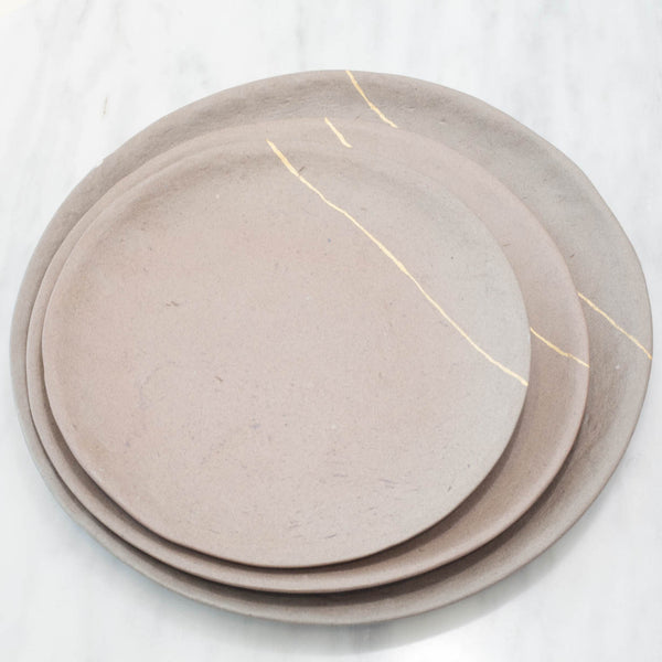 Artisan Copper Red Stoneware Plate with Golden Line Set