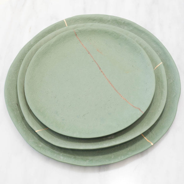 Green Stoneware Plate with Golden Line Set