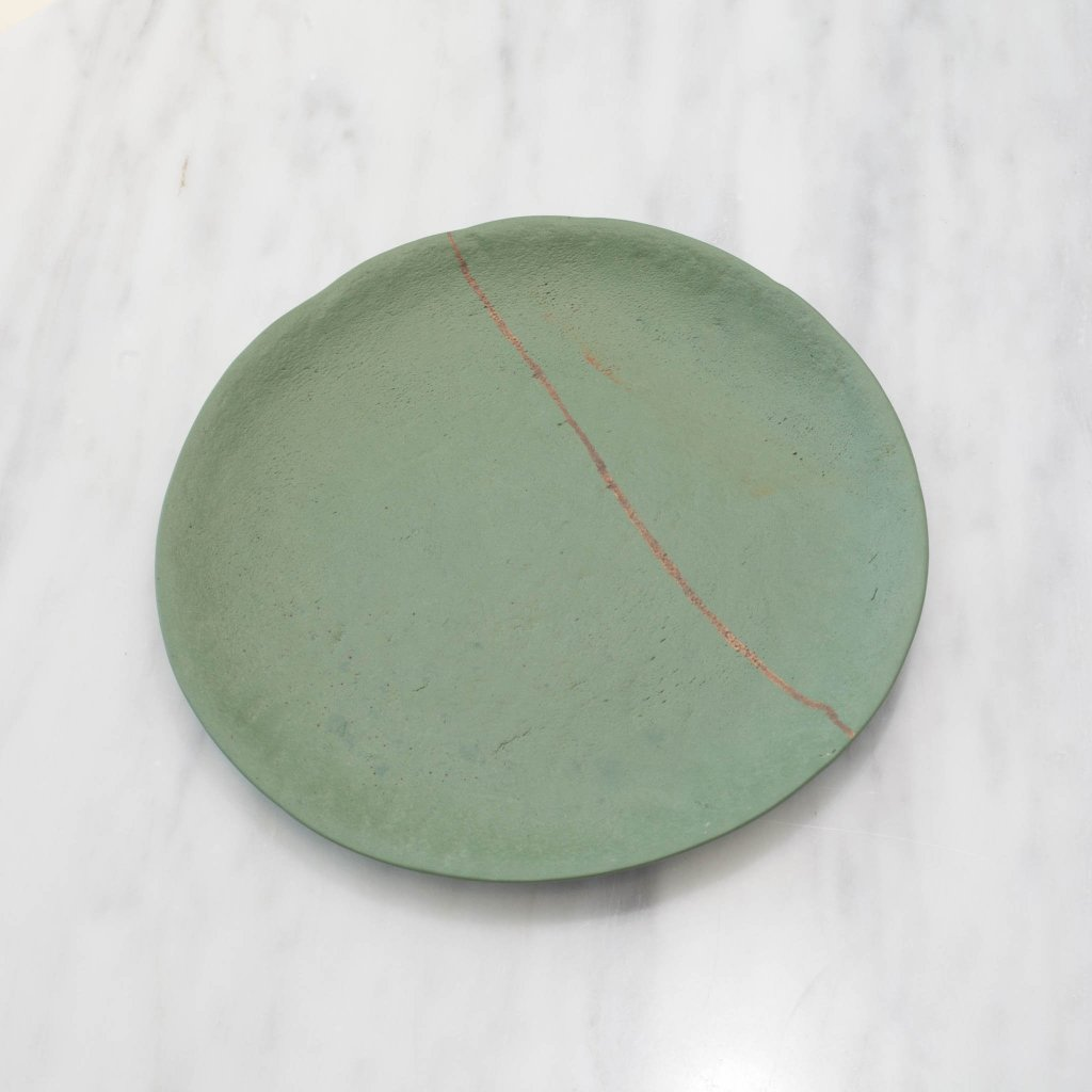 Artisan Green Stoneware Plate with Golden Line Set