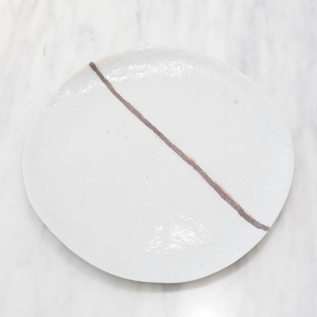 Artisan White Stoneware Plate Set with Copper Red Line