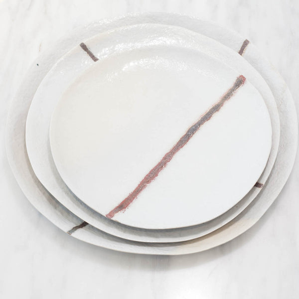 White Stoneware Plate Set with Copper Red Line
