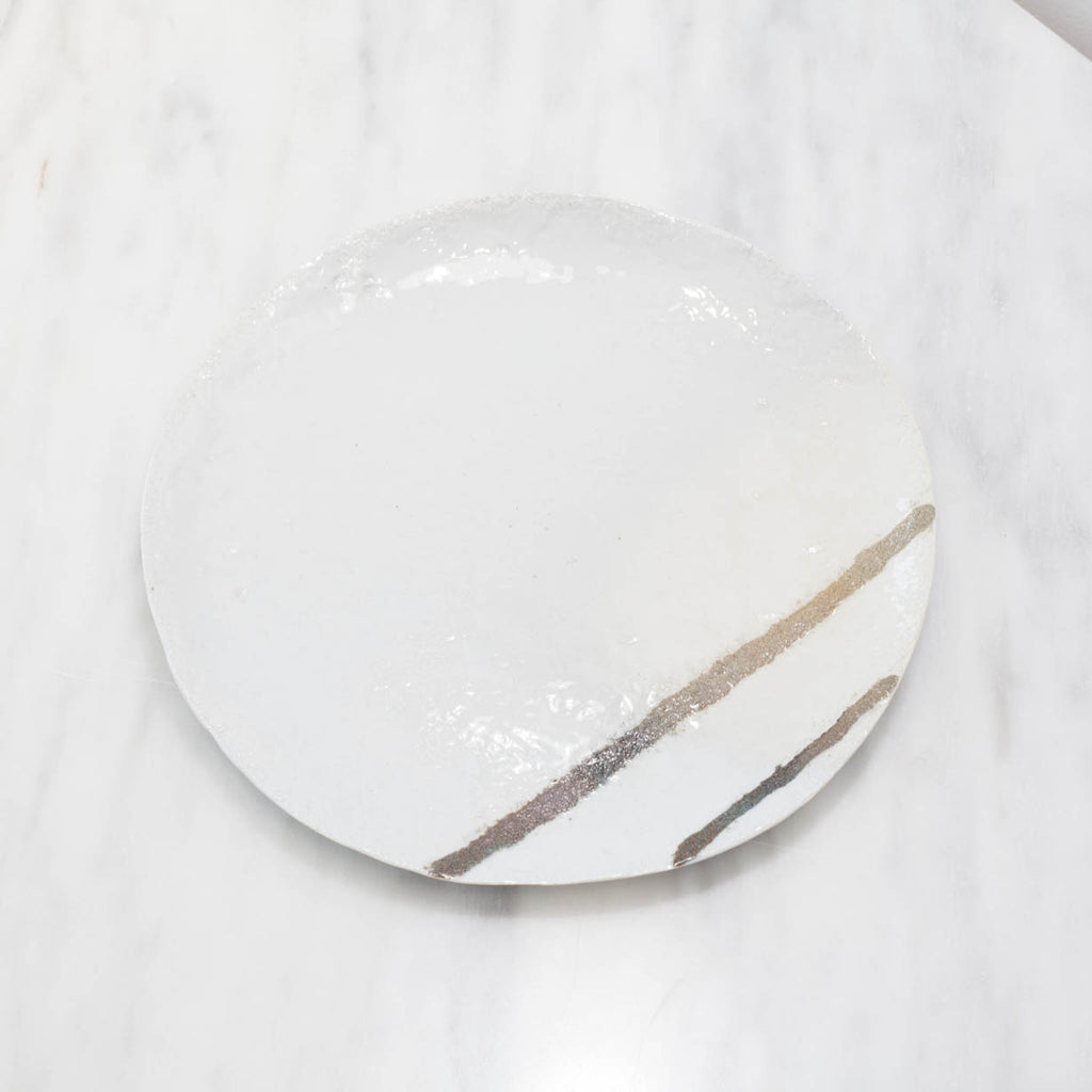 White Stoneware Plate Set with Double Lines