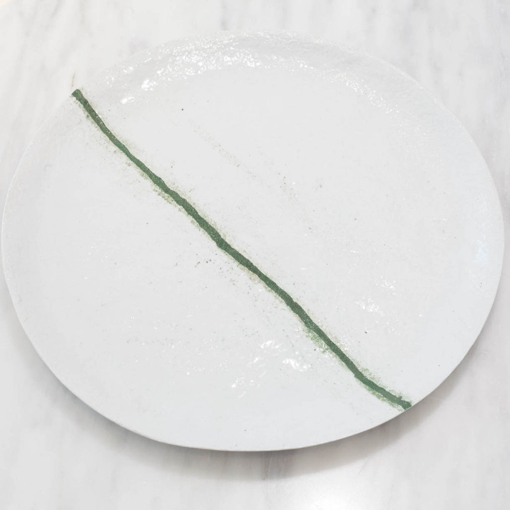 White Stoneware Plate Set with Green Line