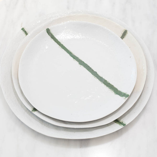 Artisan White Stoneware Plate Set with Green Line