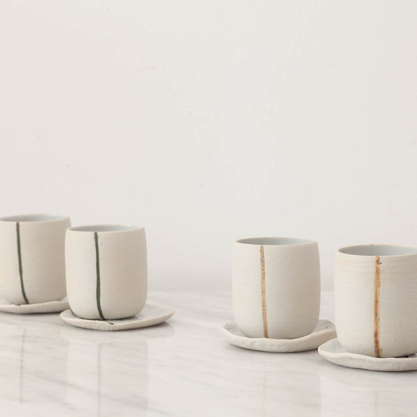 Handmade White Stoneware Tea Cups with Green Line