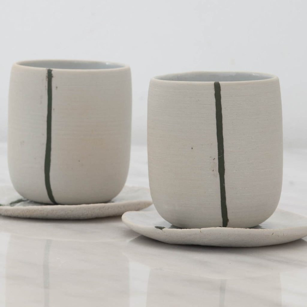 White Stoneware Tea Cups with Green Line