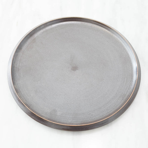 Black Glazed Ceramic Plate