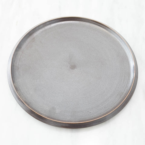 Artisan Black Glazed Ceramic Plate