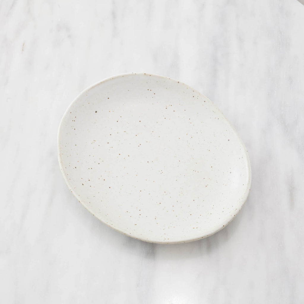 Oval Speckled Stoneware Plate Set