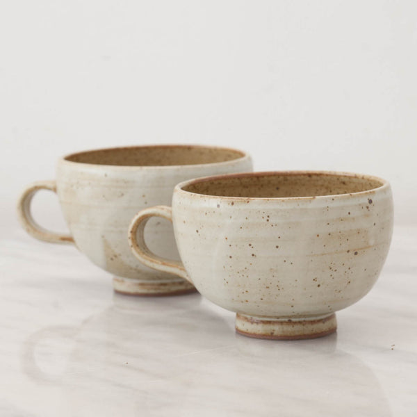 Handmade Speckled Stoneware Tea Cups