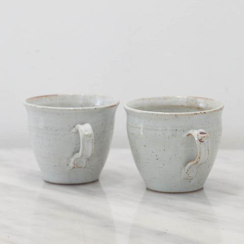 Handmade Stoneware Tea Cups For Two