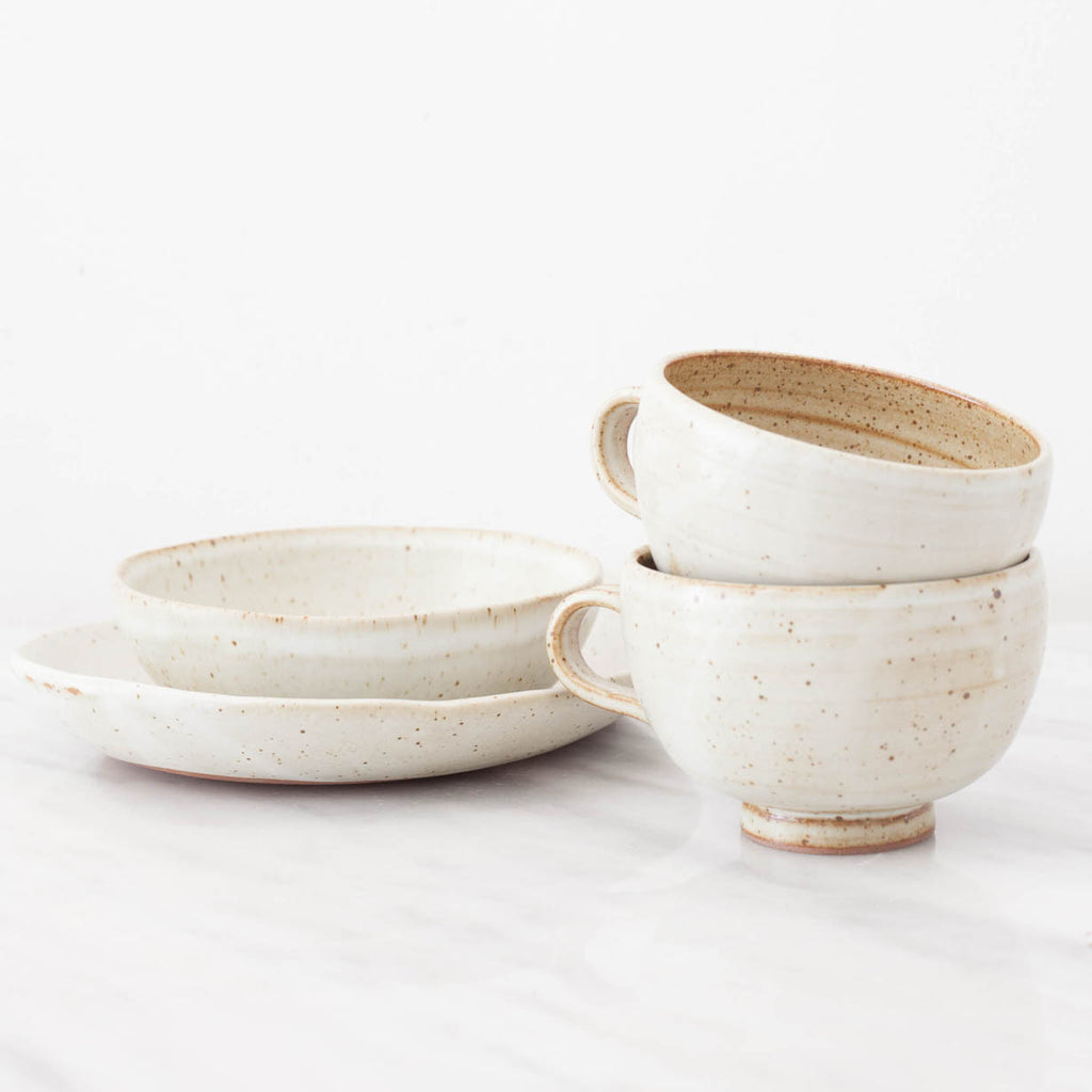 Artisan Oval Speckled Stoneware Plate Set