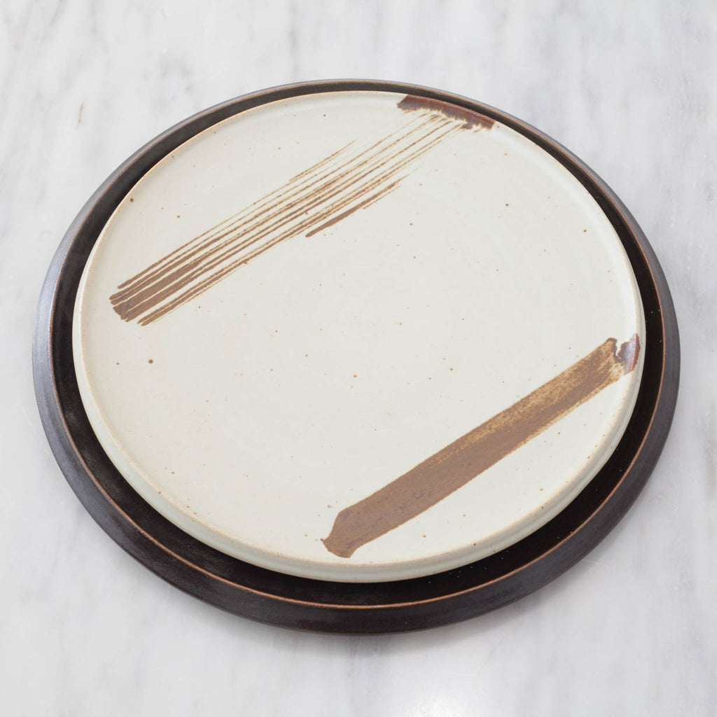 Chocolate Striped Stoneware Plate