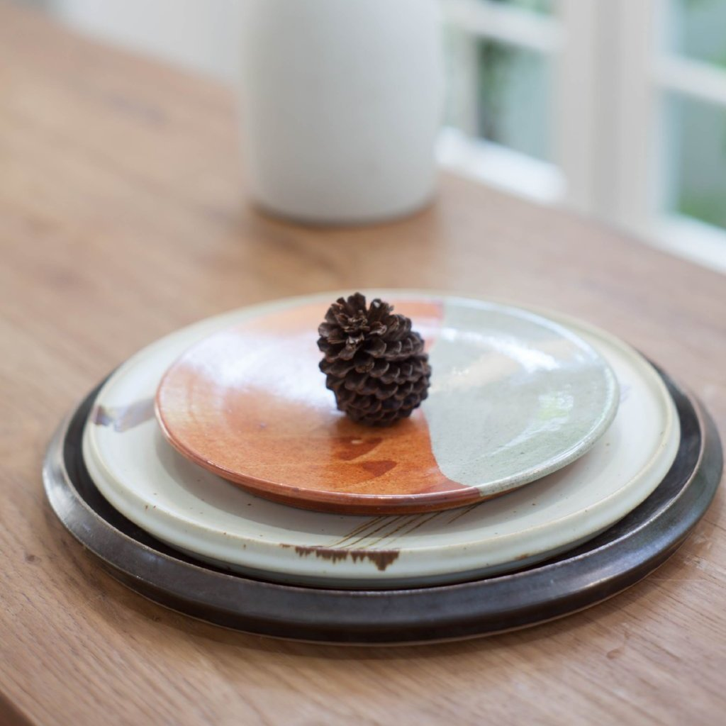 Artisan Orange and Celadon Flat Ceramic Plate