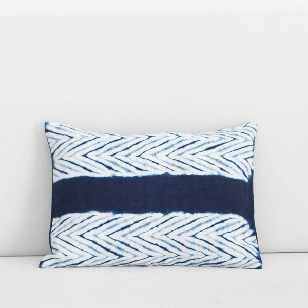 Handmade Linen & Cotton Blend Arrow Indigo Shibori Lumbar Pillow
