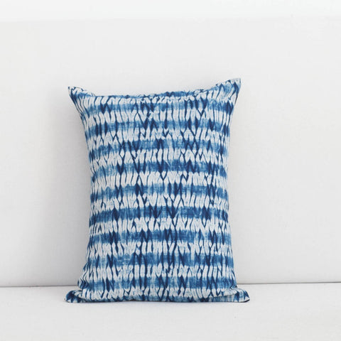 Handmade Linen & Cotton Blend Striped Indigo Shibori Lumbar Pillow
