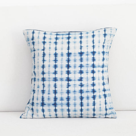Handmade Linen & Cotton Blend Soundwave Indigo Shibori Pillow