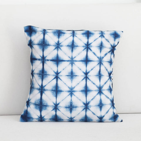 Handmade Linen & Cotton Blend Star Indigo Shibori Pillow