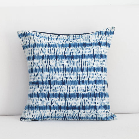 Handmade Linen & Cotton Blend Striped Indigo Shibori Pillow