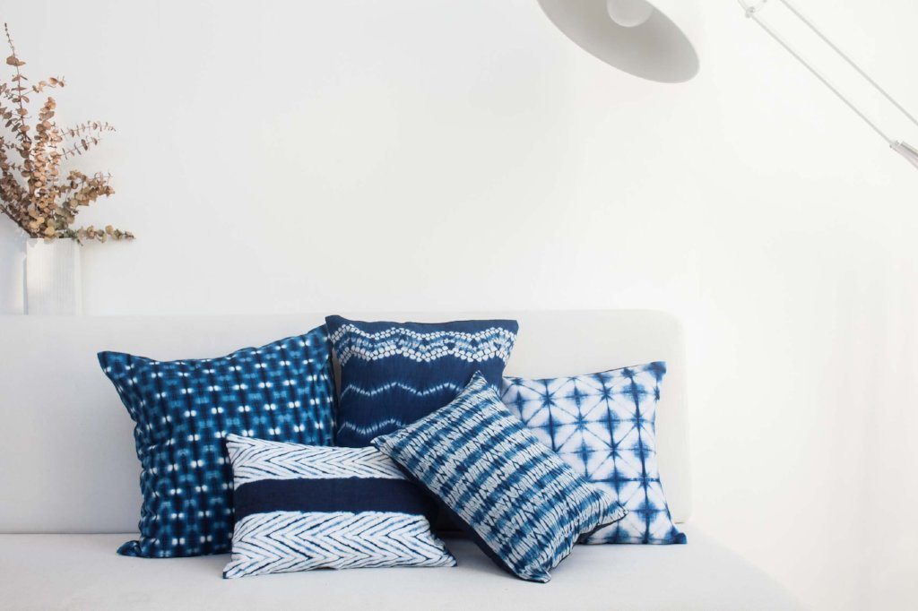 Striped Indigo Shibori Lumbar Pillow