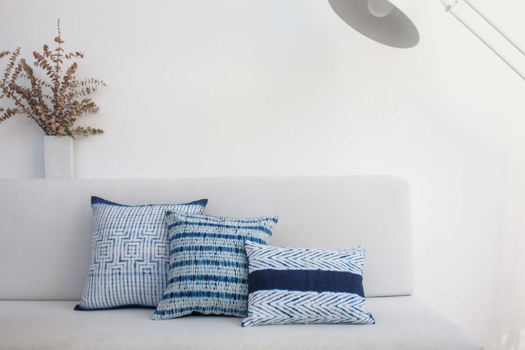 Blend Arrow Indigo Shibori Lumbar Pillow